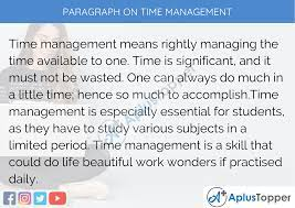 paragraph on time management 100 150