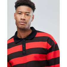 sixth june tall oversized rugby polo shirt in black with red stripes men polo shirts 1144648 djbmmbk3