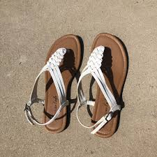 leather sandals with white braided 10 25 ae