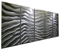 modern contemporary versatile silver panel metal wall art silver euphoria 64