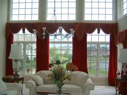 Window Valance Living Room Long White Curtains Covering French Window Set Behind Brown Living
