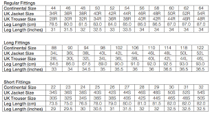 Camel Size Chart Size Guide Riva Menswear Ltd