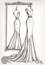 Sketching Clothing Mirror View Sketch Wedding Dress Ink
