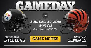 Pittsburgh Steelers Vs Cincinnati Bengals 2018 Regular Season