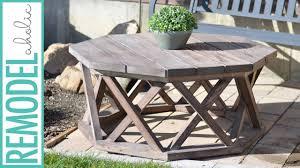 diy octagon outdoor coffee table with x base lattice legs