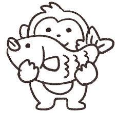 鯛を持つ猿のイラスト申年 ゆるかわいい無料イラスト素材集