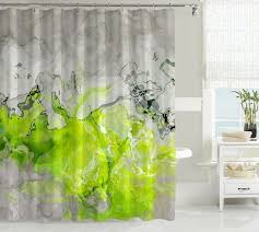 black white and lime green shower curtain