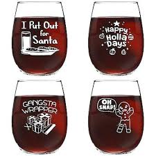 puns funny stemless wine glasses set of 4 oz cheerful canada