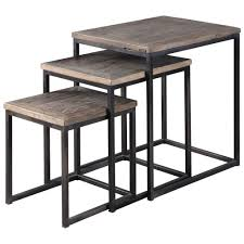 macon rustic industrial iron elm nesting tables set of 3 kathy kuo home