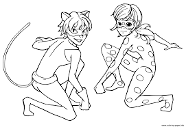 Miraculous Tales Of Ladybug Cat Noir Kids Coloring Pages Printable