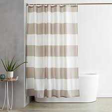 Beige shower curtains Natural Image Unavailable Amazoncom Amazoncom Amazonbasics Shower Curtain With Hooks treated To