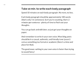 how to write a word blog post in one hour 30 min write the 3 body paragraphs 9