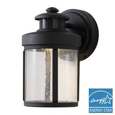 hampton bay black motion sensor outdoor integrated led small wall mount lantern
