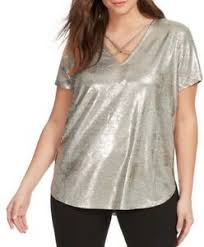 Plus In Love Size Chart Details About Love Fire Criss Cross Neck Short Sleeve Knit Top In Metallic Plus Size 0x