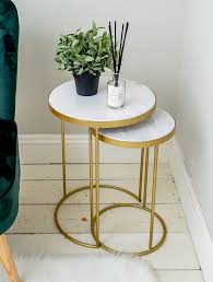 details about marble topped nest of 2 side tables round gold living room vintage art deco