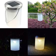 waterproof Solar Power Hanging Cylinder Lanterns LED Landscape Path