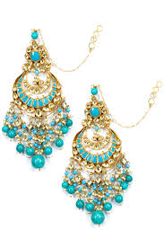 Designer Jewellery Gold Plated Kundan Turquoise Stone And Pearls Chandbali Earrings