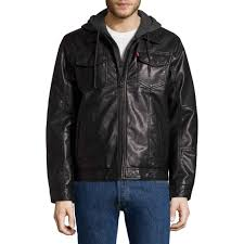 details about levis men s black faux leather hooded jacket with sweatshirt lining nwt medium
