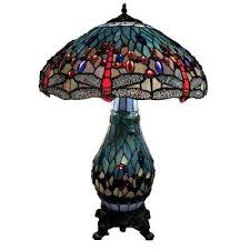 dragonfly 26 in antique brass table lamp with stained glass