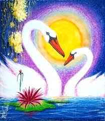 swan painting love birds by arvind gairola