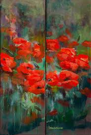 poppies print featuring the painting poppies by dorina costras
