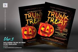 halloween template flyer halloween trunk or treat flyers flyer templates creative market