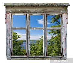 scenic view seen through an old window frame vinyl wall mural destinations