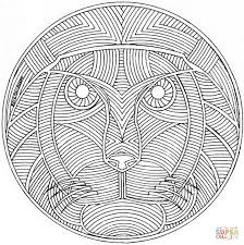 Small Picture Celtic Mandala with Lion Face coloring page Free Printable