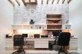Home office wall Masculine Uneven Whitewashed Brick Wall For Modern Shared Home Office Digsdigs 34 Home Office Designs With Exposed Brick Walls Digsdigs
