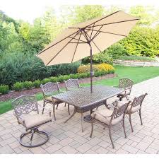 Great modern outdoor furniture 15 home Trends 9piece Aluminum Outdoor Dining Set With Sunbrella Beige Cushions And Beige Umbrellahd2301t2109c42104s2d564005bg410115ab The Home Depot Mulestablenet 9piece Aluminum Outdoor Dining Set With Sunbrella Beige Cushions