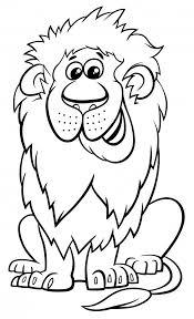 ライオン動物キャラクター漫画ぬりえ本 ベクター画像 プレミアム
