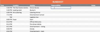 Create A Programme For An Event Event Run Sheet Template A Step By Step Guide