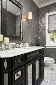 view in gallery stylish powder room with a gorgeous black vanity and wallpaper