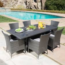 patio furniture sets. Malta Outdoor 7-piece Rectangle Wicker Dining Set With Cushions By Christopher Knight Home Patio Furniture Sets