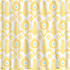 Beautiful Ikat Shower Curtain For Your Interior Bathroom Decor - Yellow and white bathroom