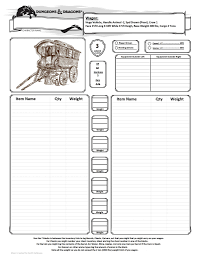 hero forge character sheet wagon inventory sheet for dungeons dragons gaming pinterest