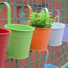 10pcs hanging flower pots balcony