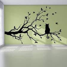 cat on tree branch birds wall sticker