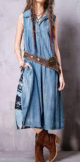 <b>Artka</b> Denim Patchwork Dress-The craftsmanship is exquisite of this ...