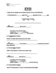 subject verb object skeletal notes and practice worksheet