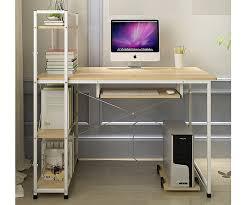 exceeder ii workstation wood steel computer desk with storage shelves white frame