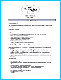 Bartender Duties On Resume Free Resume Example And Writing Download