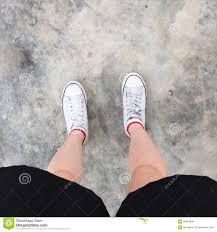 shoes for walking on concrete. Contemporary Walking White Sneakers Shoes Walking On Dirty Concrete Top View  Canvas  Inside Shoes For Walking On Concrete