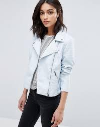 vero moda vero moda leather look jacket women light blue