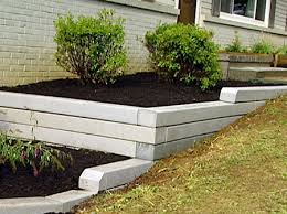 retaining wall with a flower bed