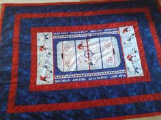 quilt baseball panel | Click to view this project in other colors ... & Hockey Quilt for Grandson Adamdwight.com