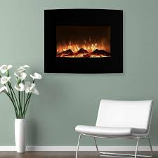 mini curved electric fireplace with wall and floor mount in black