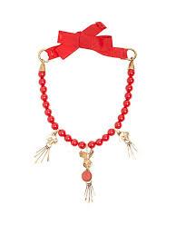 valentino skull pendant beaded necklace womens red