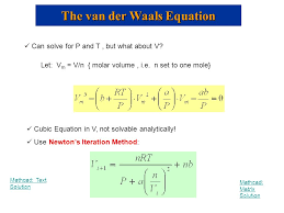 the van der waals equation can solve for p and t but what about v