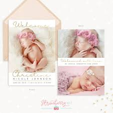 Gold Handwriting Birth Announcement Template - Strawberry Kit